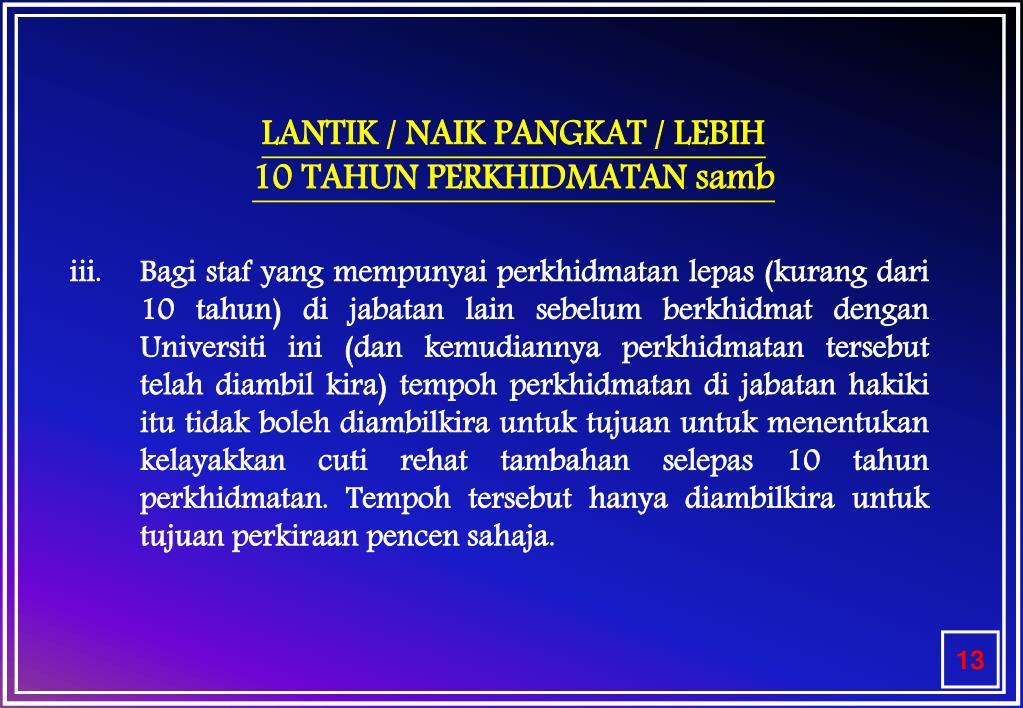 LANTIK / NAIK PANGKAT / LEBIH