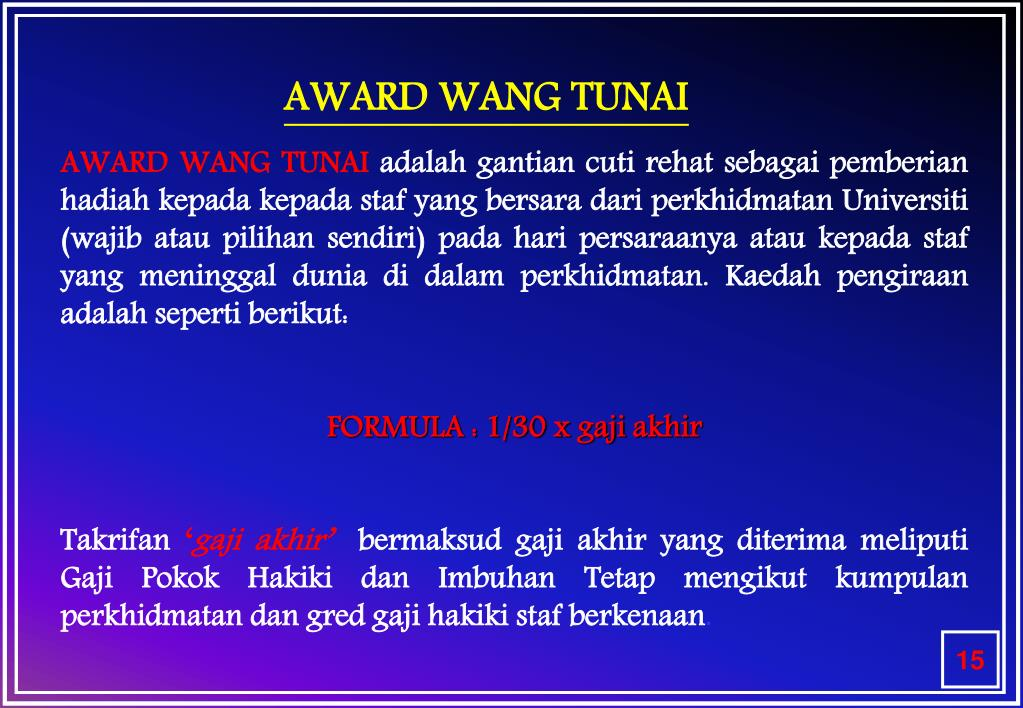 AWARD WANG TUNAI
