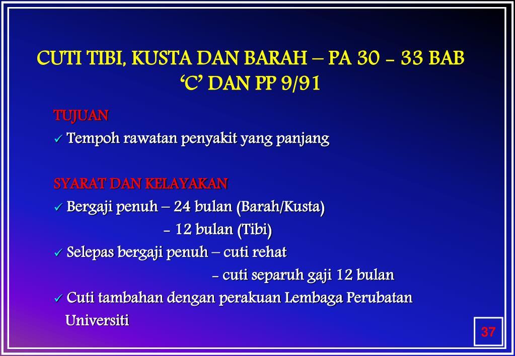 CUTI TIBI, KUSTA DAN BARAH – PA 30 - 33 BAB 'C' DAN PP 9/91