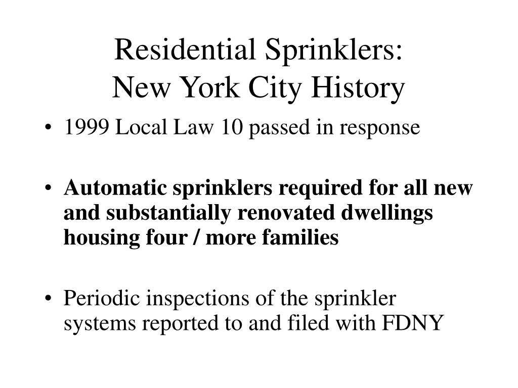 Residential Sprinklers:
