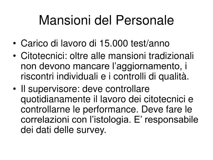 Mansioni del Personale