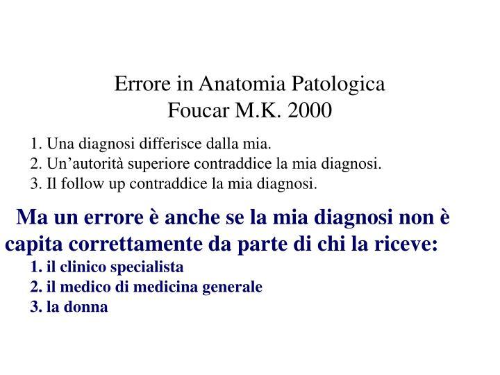 Errore in Anatomia Patologica