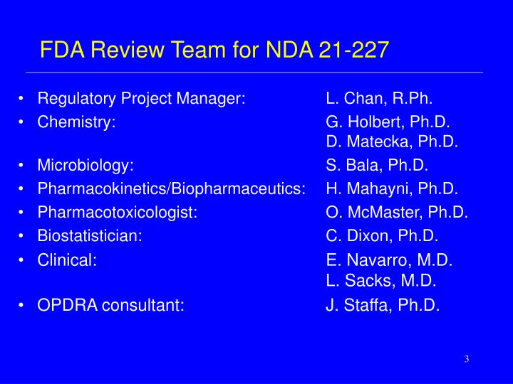 Fda review team for nda 21 227