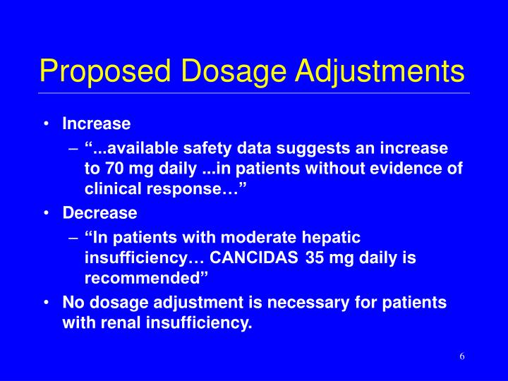 Proposed Dosage Adjustments