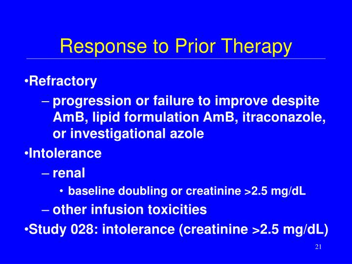 Response to Prior Therapy