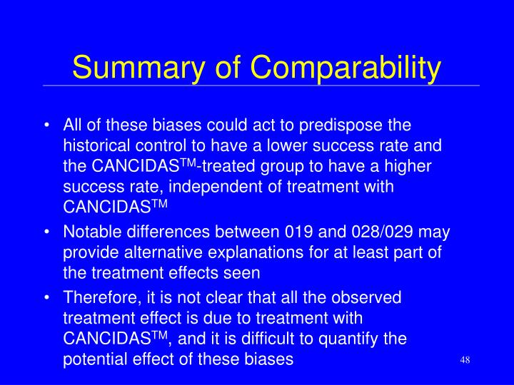 Summary of Comparability