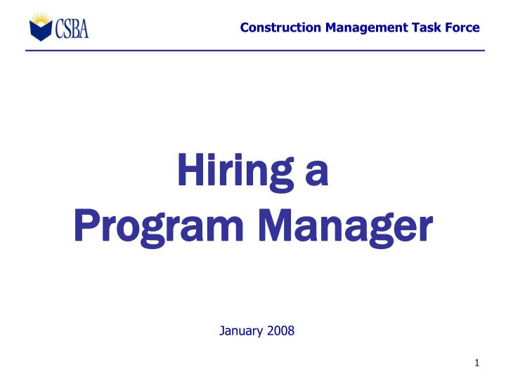 Hiring a program manager