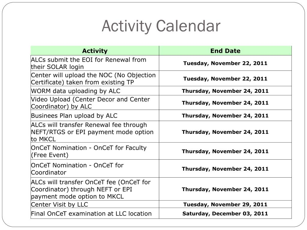 Activity Calendar