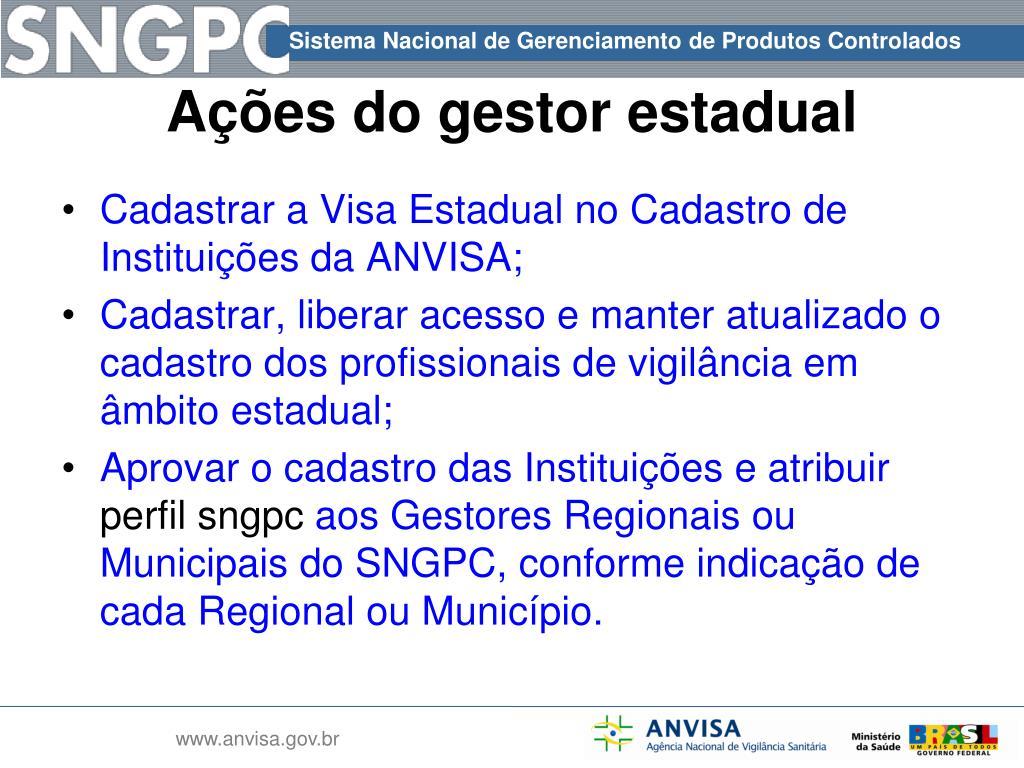 Cadastrar a Visa Estadual no Cadastro de Instituições da ANVISA;