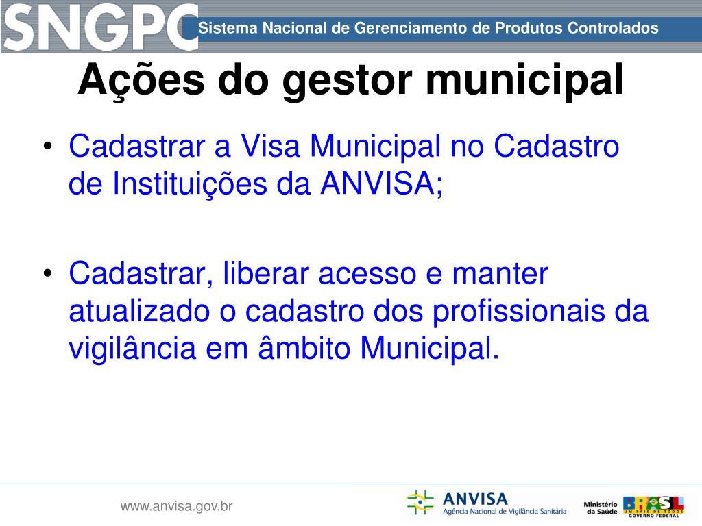 Cadastrar a Visa Municipal no Cadastro de Instituições da ANVISA;