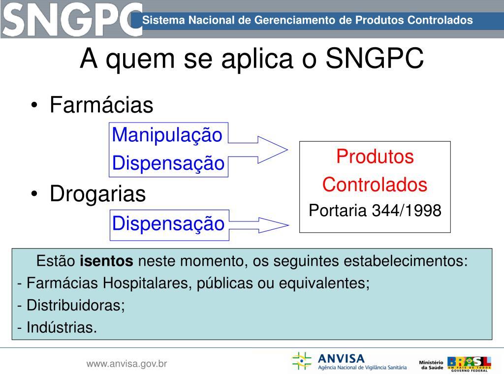 A quem se aplica o SNGPC