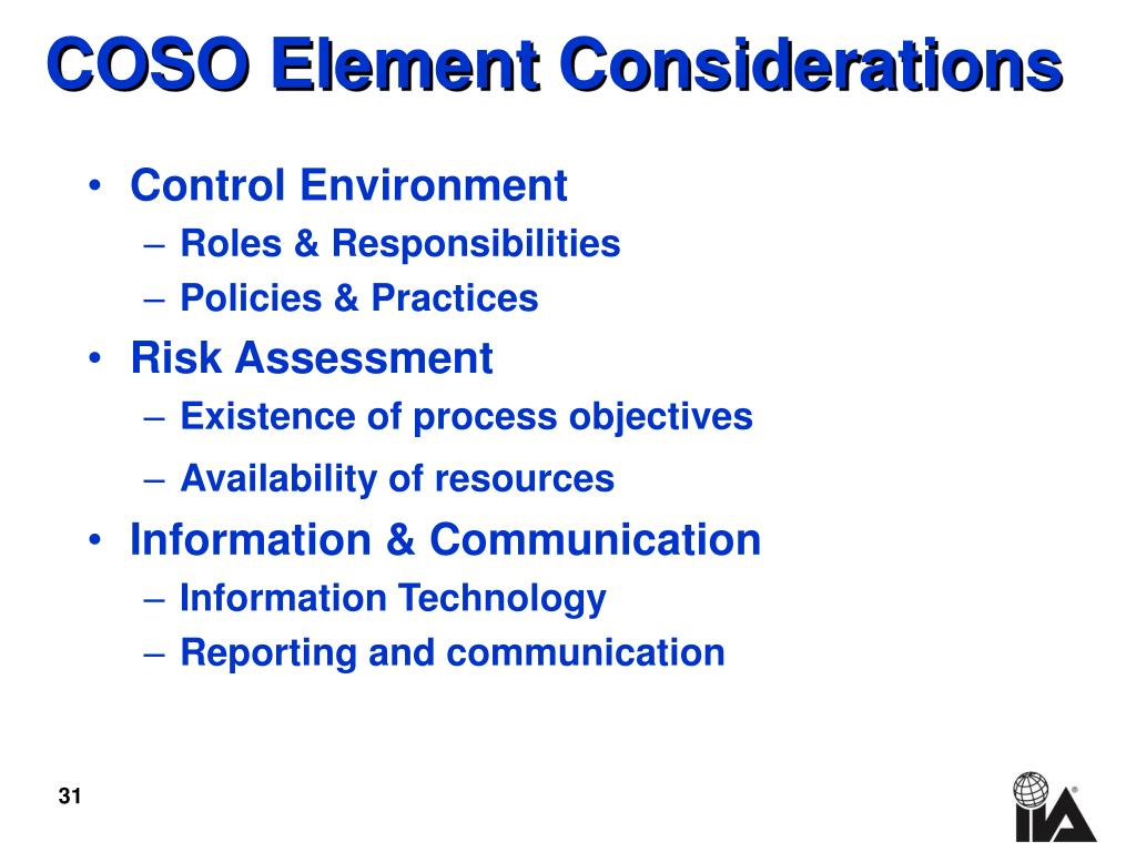 COSO Element Considerations