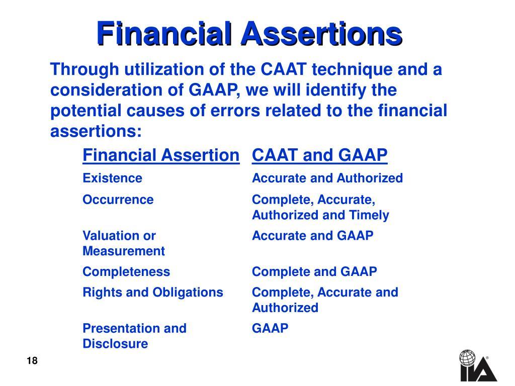 Financial Assertions