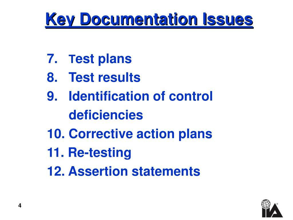 Key Documentation Issues