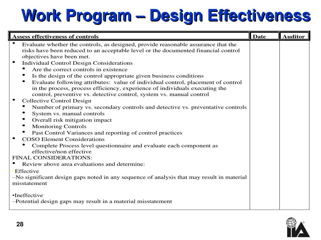 Work Program – Design Effectiveness