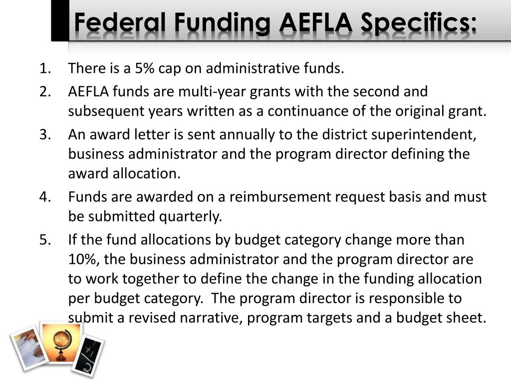 Federal Funding AEFLA Specifics: