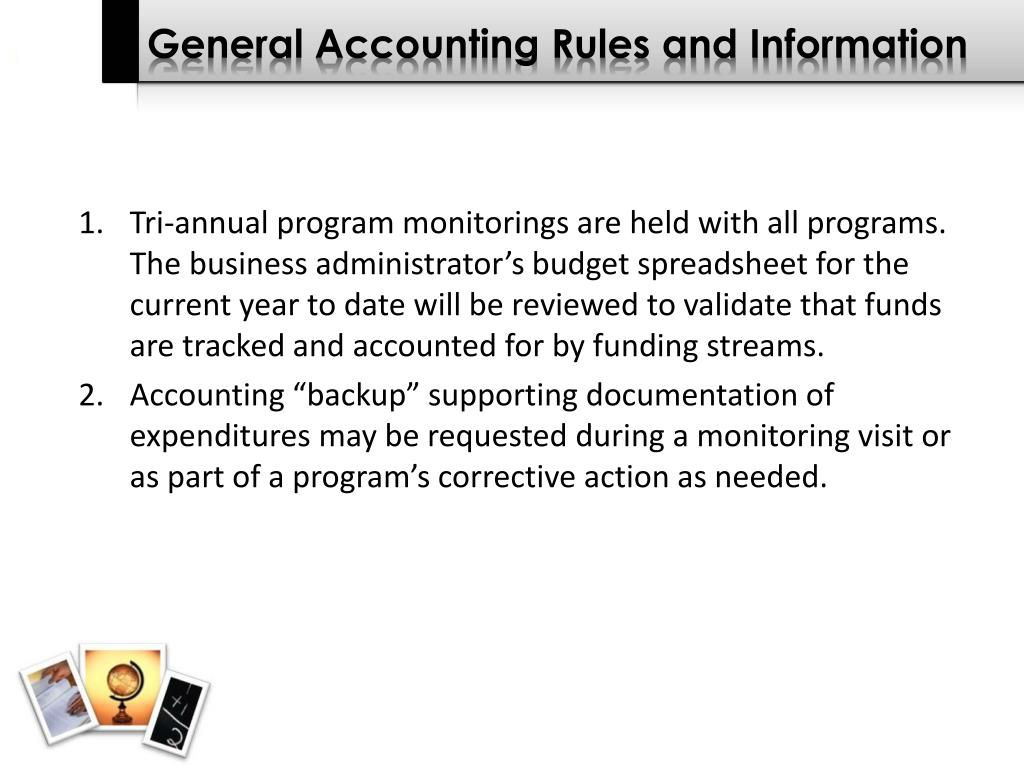 General Accounting Rules and Information