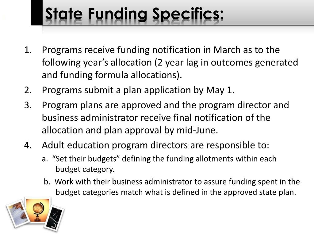State Funding Specifics: