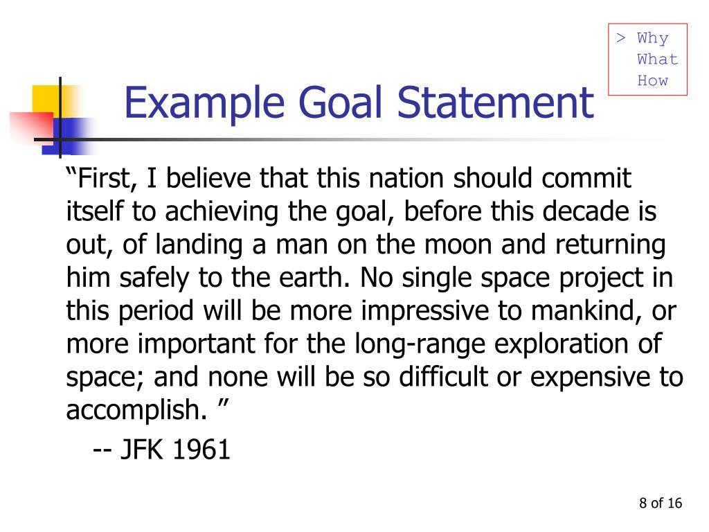 Example Goal Statement