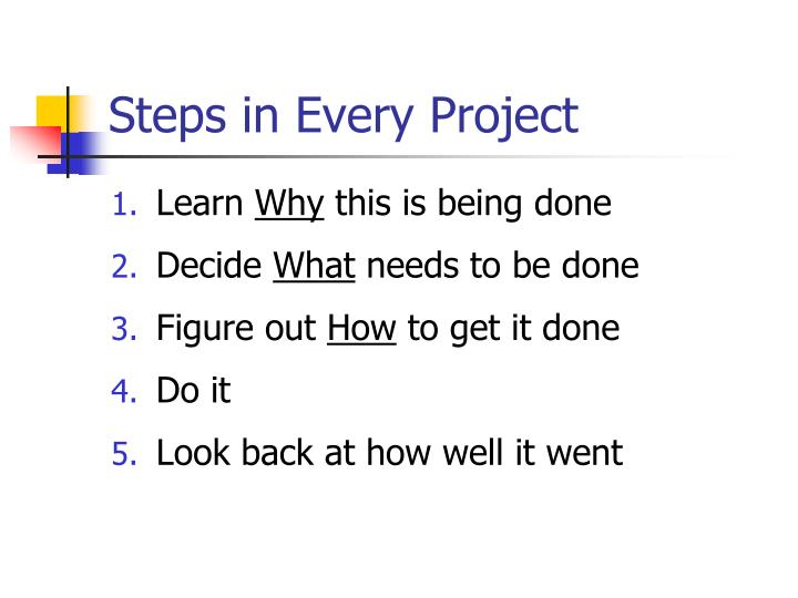Steps in every project