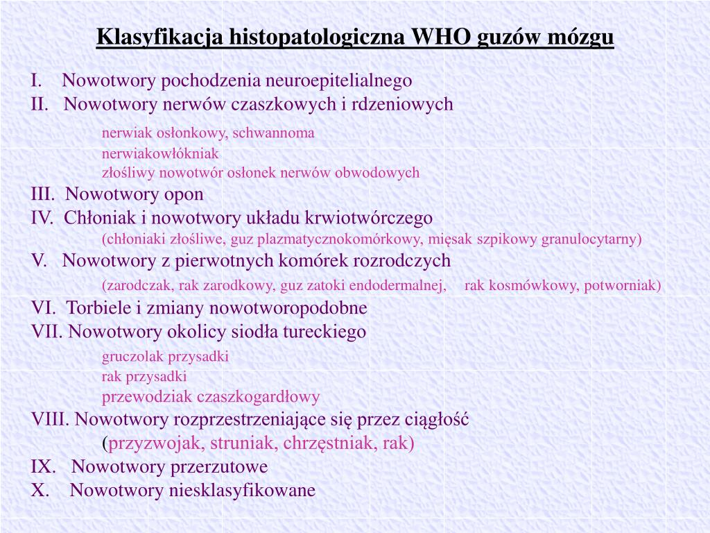 Klasyfikacja histopatologiczna WHO guzów mózgu