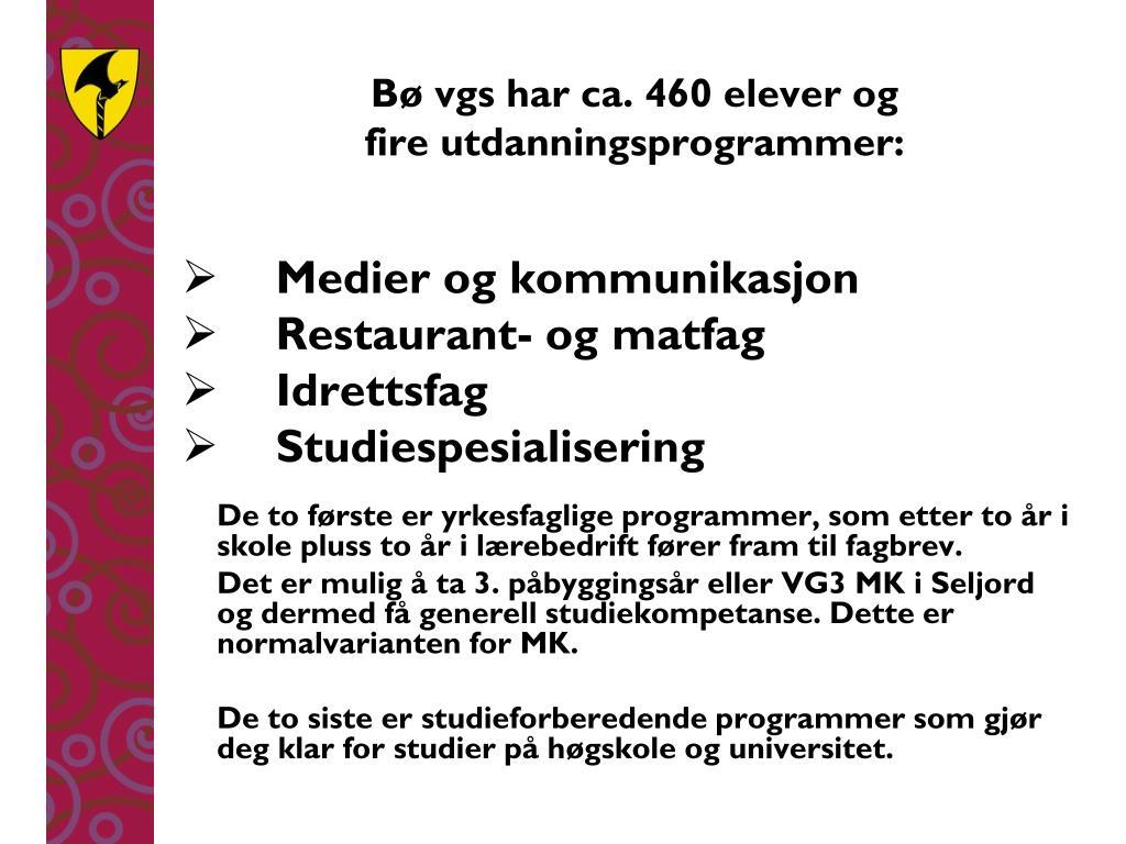Bø vgs har ca. 460 elever og
