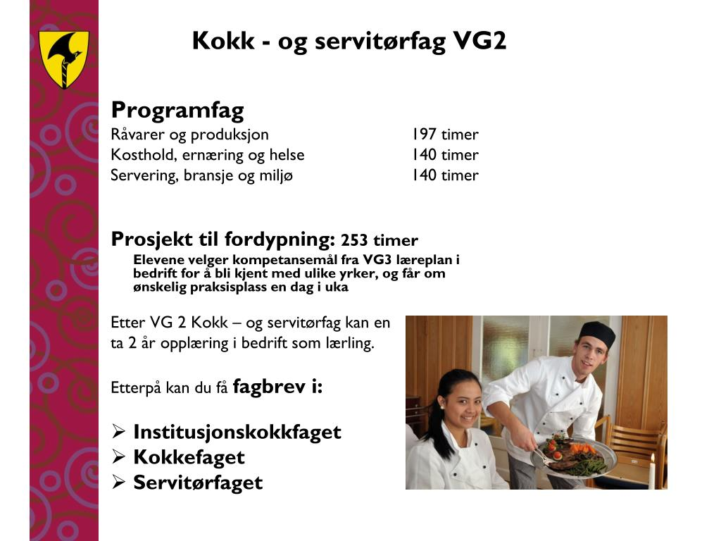 Kokk - og servitørfag VG2