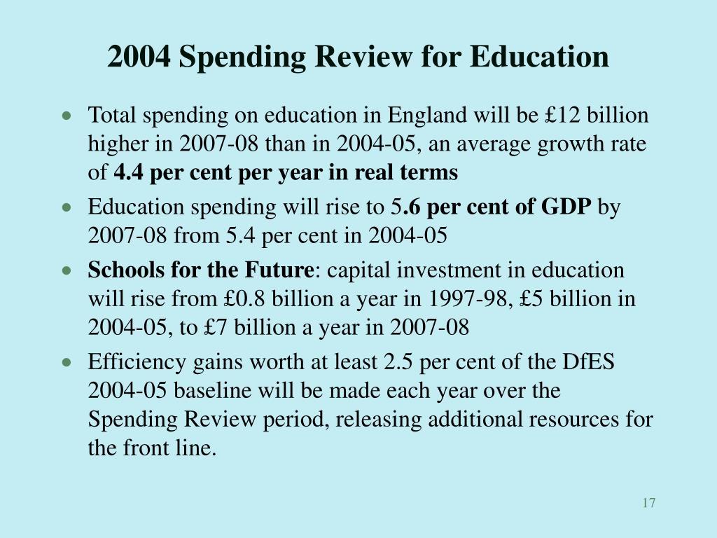 2004 Spending Review for Education