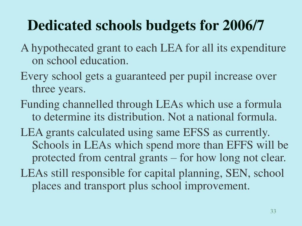 Dedicated schools budgets for 2006/7