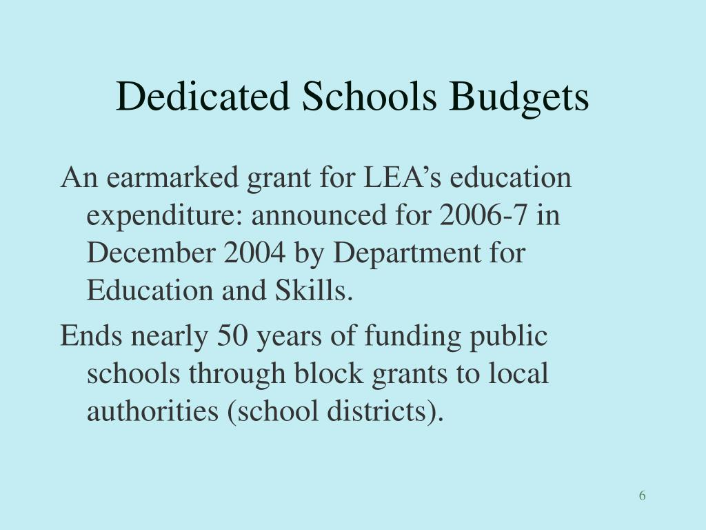 Dedicated Schools Budgets