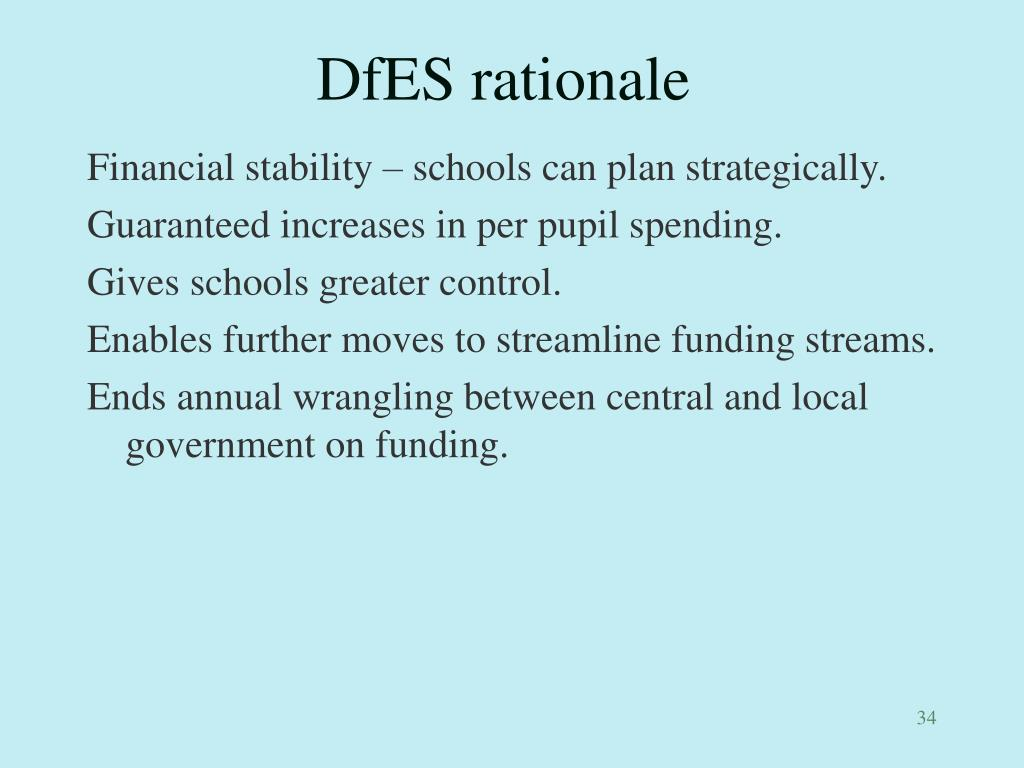 DfES rationale