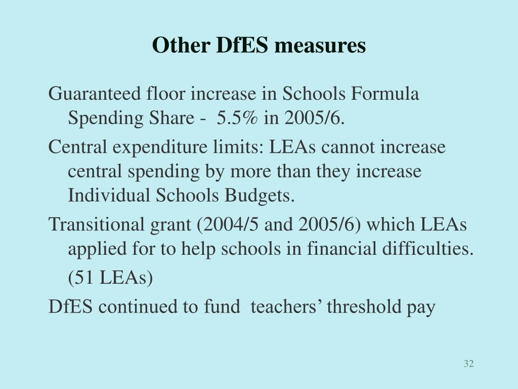 Other DfES measures
