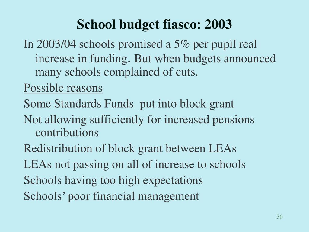 School budget fiasco: 2003