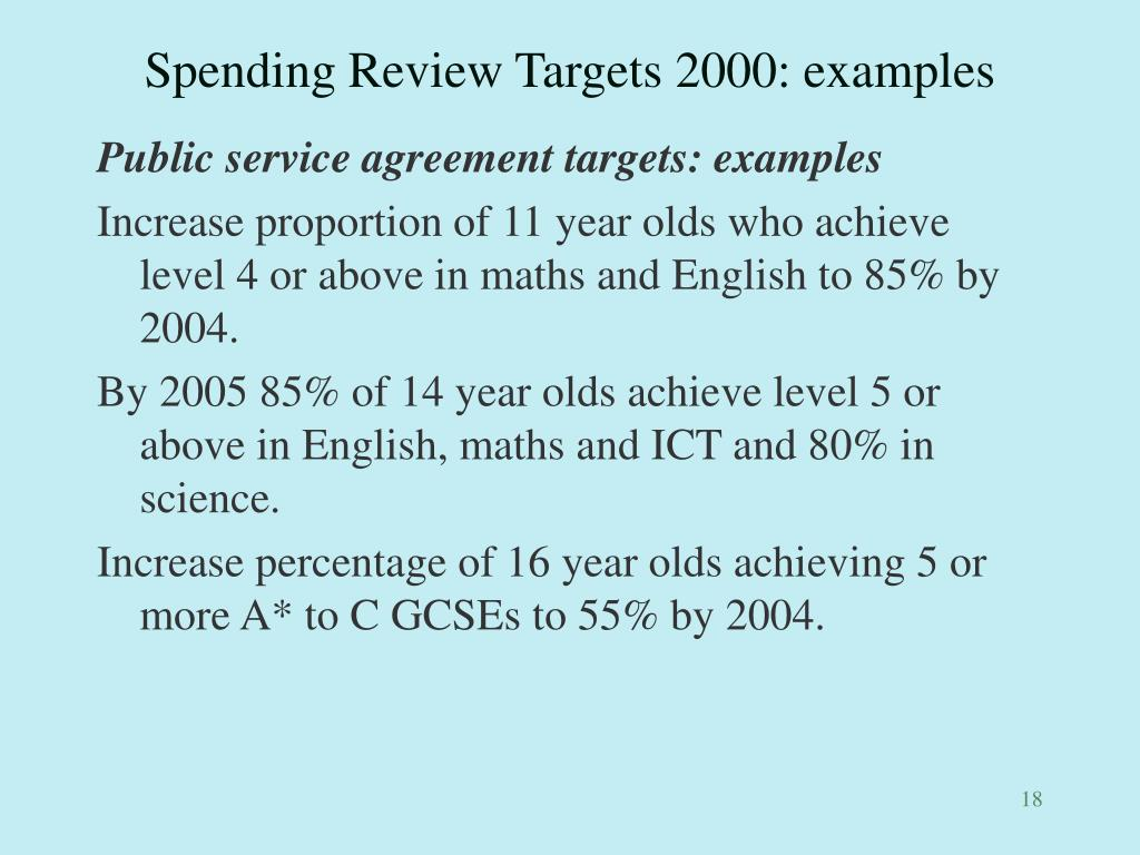 Spending Review Targets 2000: examples