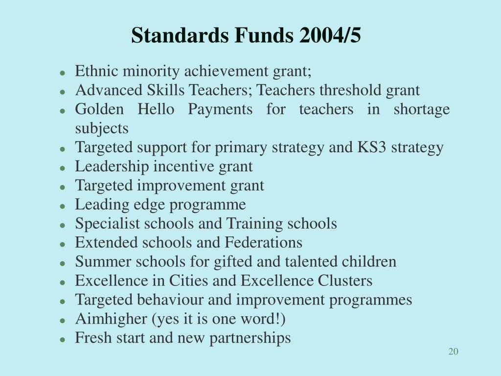 Standards Funds 2004/5
