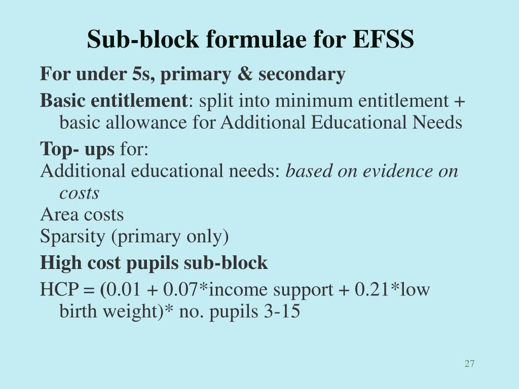 Sub-block formulae for EFSS