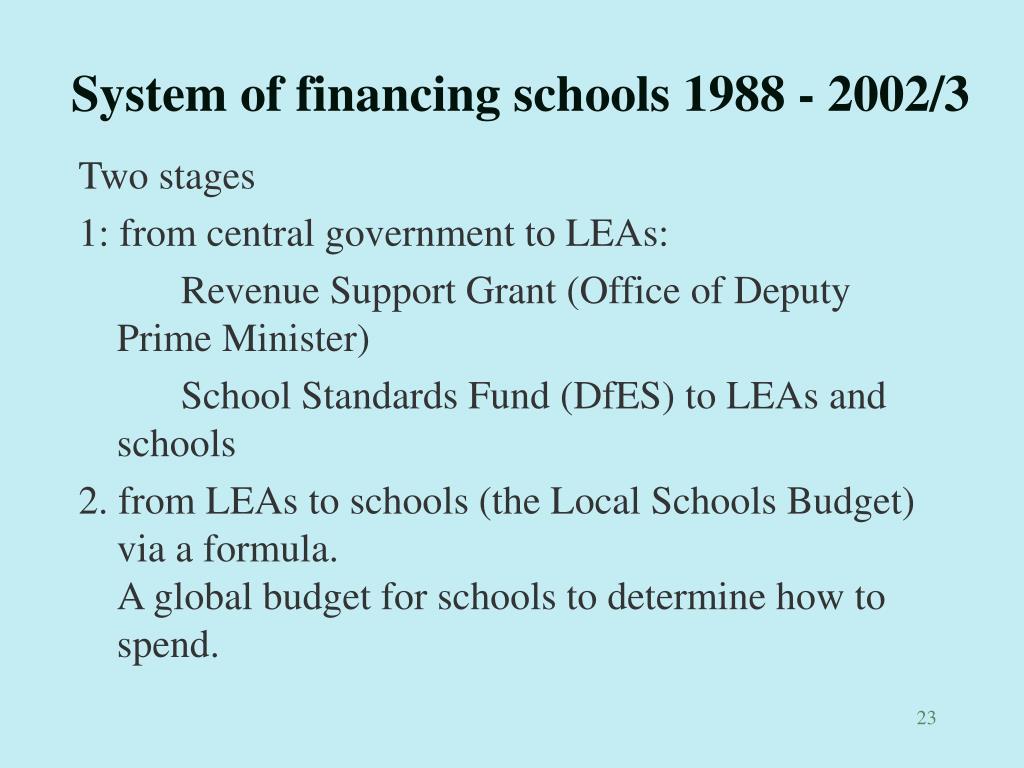 System of financing schools 1988 - 2002/3