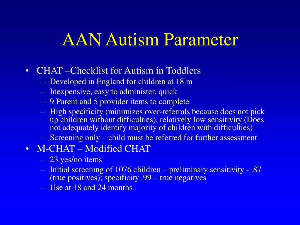 AAN Autism Parameter