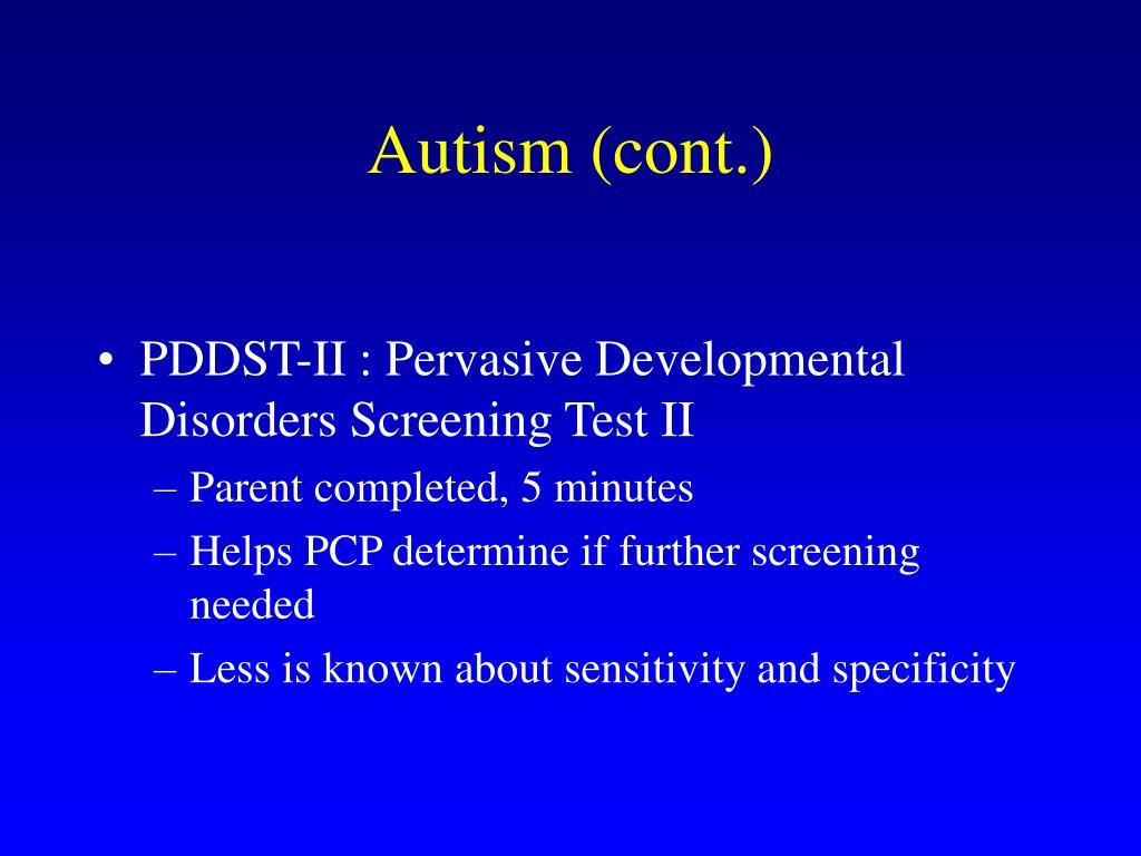 Autism (cont.)
