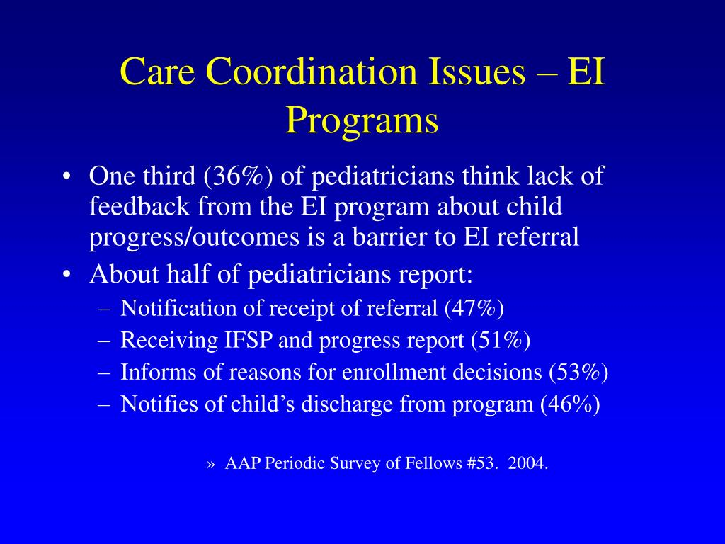 Care Coordination Issues – EI Programs