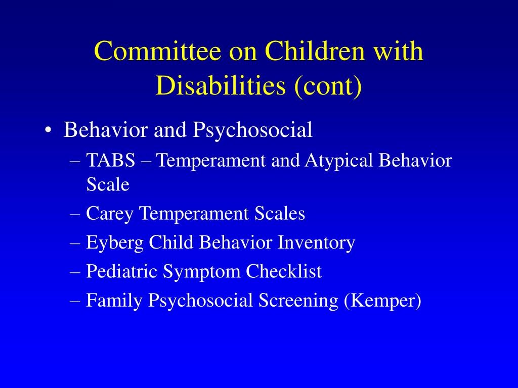 Committee on Children with Disabilities (cont)