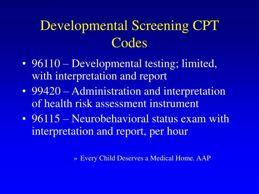 Developmental Screening CPT Codes
