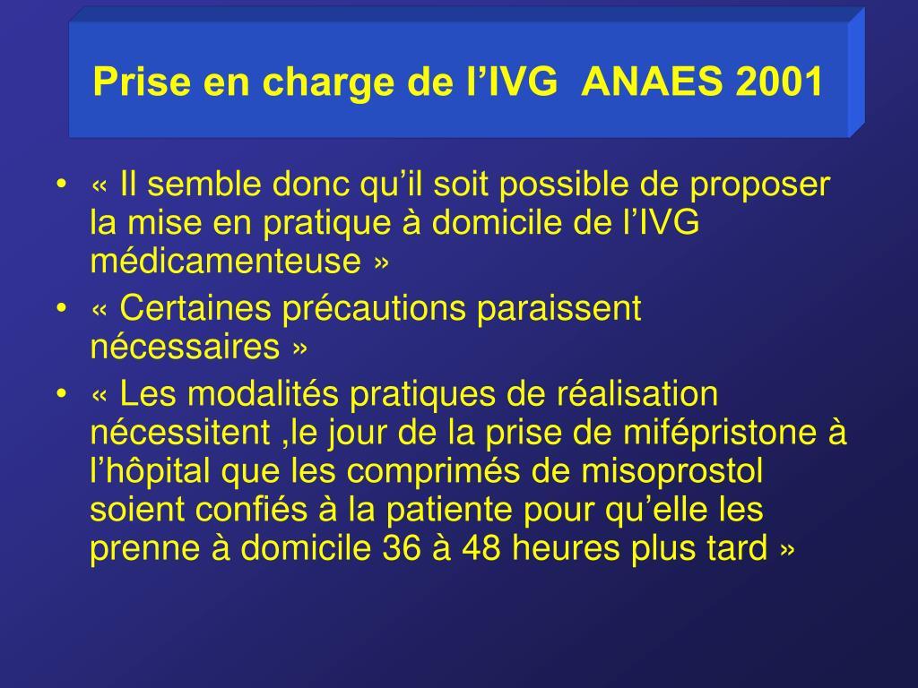 Prise en charge de l'IVG  ANAES 2001