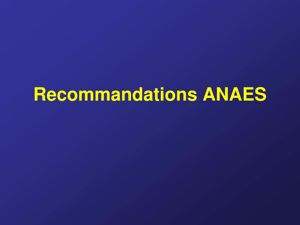Recommandations ANAES