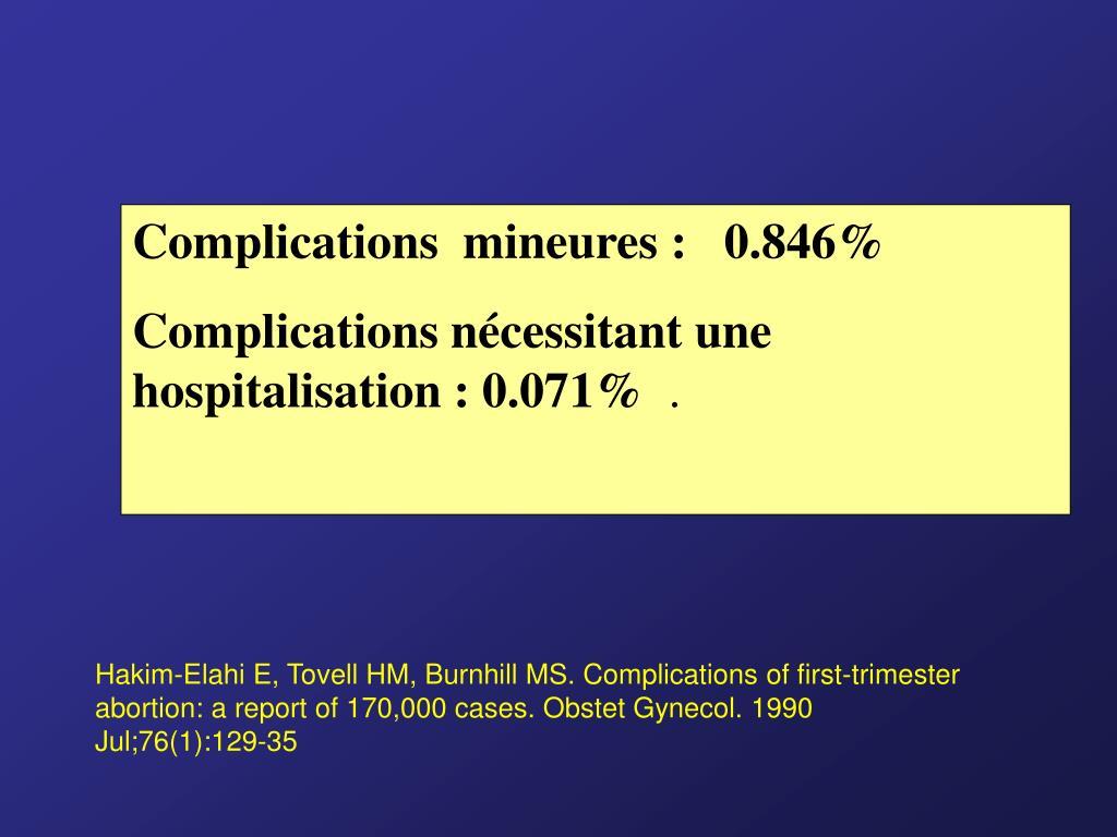 Complications  mineures :   0.846%