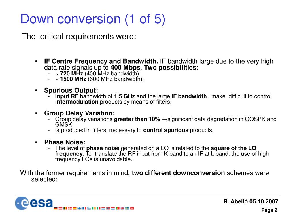 Down conversion (1 of 5)