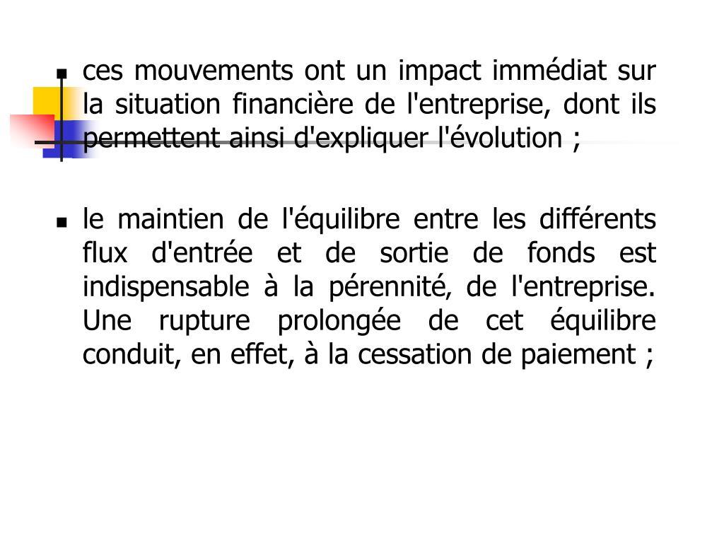 ces mouvements ont un impact immédiat sur la situation financière de l'entreprise, dont ils permettent ainsi d'expliquer l'évolution ;