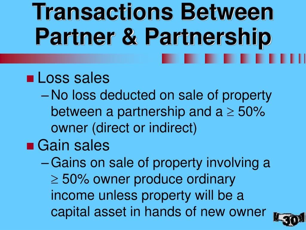 Transactions Between Partner & Partnership