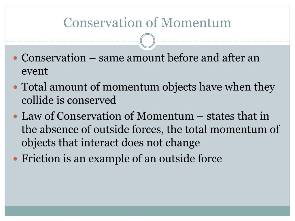 conservation of momentum Momentum is a measurement of inertia in motion this conservation of momentum example problem shows how to solve for an unknown mass after a collision.