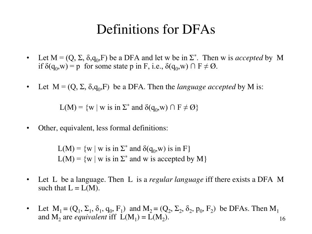 Definitions for DFAs